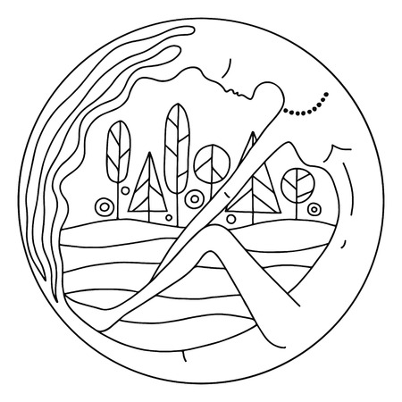 Vector graphic illustration of hand drawn abstract psyhedelic woman in the round frame with forest and fields. Black and white picture for coloring.