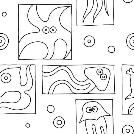 Seamless vector black and white background with hand drawn decorative childlike fish, jellyfish, octopus, starfish. Graphic illustration. Print for wrapping, wallpaper, background, surface, packaging Illustration