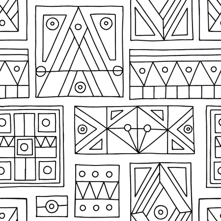 Seamless vector pattern. Black and white geometrical hand drawn background with etnic elements. Print for background, wallpaper, packaging, wrapping, fabric. Tribal grafhic design