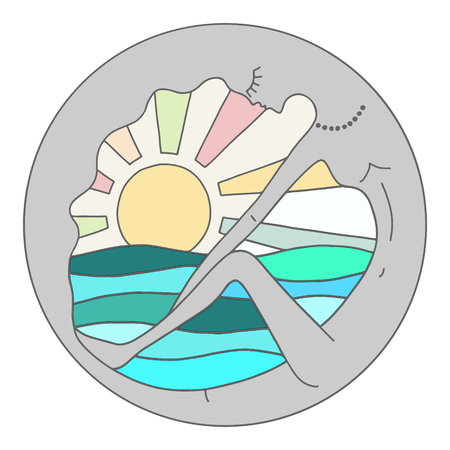 Vector colorful graphic illustration of hand drawn abstract psyhedelic woman in the round frame with sun and sea. Ilustração