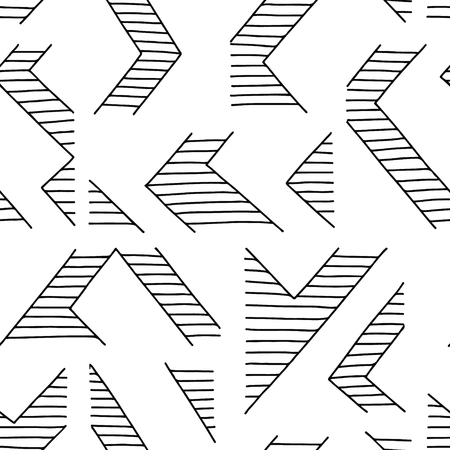 Seamless vector pattern. Black and white geometrical hand drawn background with lines. Print for decorative wallpaper, packaging, wrapping, fabric. Line drawing, graphic design