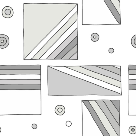 Seamless vector pattern. geometrical hand drawn background with rectangles, squares, dots, diagonal lines. Print for decorative wallpaper, packaging, wrapping, fabric. Line drawing, graphic design