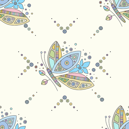 Vector hand drawn colorful seamless pattern, illustration of butterfly with decorative geometrical elements, lines, dots. Line drawing. Graphic design.