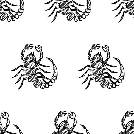 Seamless vector pattern of insect, black and white hand drawn scorpions. Sketch pencil liberty drawing. Print for fabric, wallpaper, backgrounds, wrapping, packaging, packing  イラスト・ベクター素材