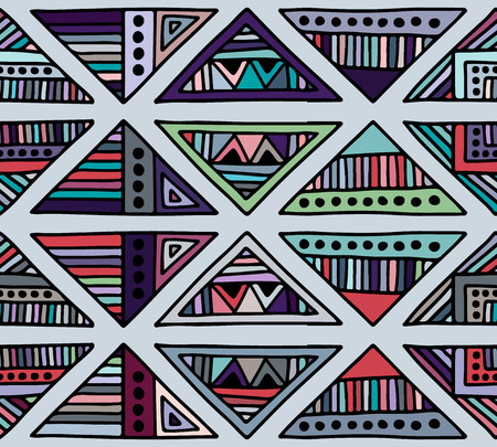 Seamless vector pattern. geometrical background with hand drawn decorative tribal elements. Print with ethnic, folk, traditional motifs. Graphic illustration for wrapping, wallpaper, fabric, packing