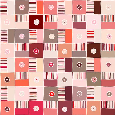 Modèle vectorielle continue. Fond géométrique rouge dessiné à la main avec des chiffres, des carrés, des coeurs, des triangles, des croix, des points, des lignes. Imprimer pour le fond, le papier peint, l'emballage, l'emballage, le tissu.