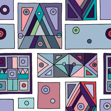 Seamless vector pattern. Vintage blue geometrical hand drawn background with etnic elements. Retro print for background, wallpaper, packaging, wrapping, fabric. Tribal grafhic old design
