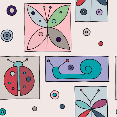 Seamless vector pink background with hand drawn decorative childlike butterfly, ladybug, snail, dragonfly. Graphic illustration. Print for wrapping, wallpaper, background, packaging Ilustrace