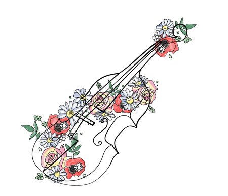 Vector hand drawn graphic illustration of violin with flowers, leaves Sketch drawing, doodle style. Artistic abstract line art. Black, white silhouette wirh colorful rose, poppy, dandelion, leaf Ilustração Vetorial
