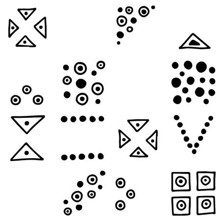 Motif géométrique vectorielle continue avec des éléments décoratifs dessinés à la main. Conception graphique, illustration de dessin. Impression pour tissu, textile, papier peint, emballage, emballage. Dessin au trait. Style doddle, Vecteurs
