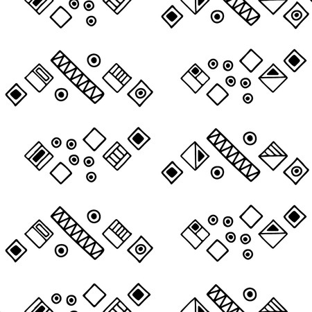 Seamless vector geometrical pattern with hand drawn decorative elements. Graphic design, drawing illustration. Print for fabric, textil, wallpaper, wrapping, packaging. Line drawing. Doddle style,
