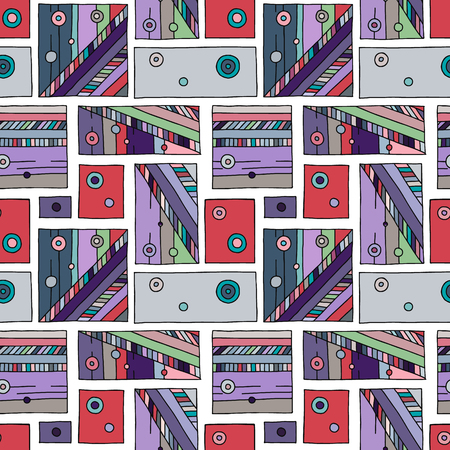 Seamless vector pattern. geometrical hand drawn background with rectangles, squares, dots. Print for background, wallpaper, packaging, wrapping, fabric. Vektoros illusztráció