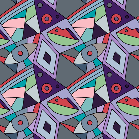 Seamless vector pattern, lined asymmetric geometric background with rhombus, triangles. Print for decor, wallpaper, packaging, wrapping, fabric. Triangular abstrac design. Line drawing Illustration