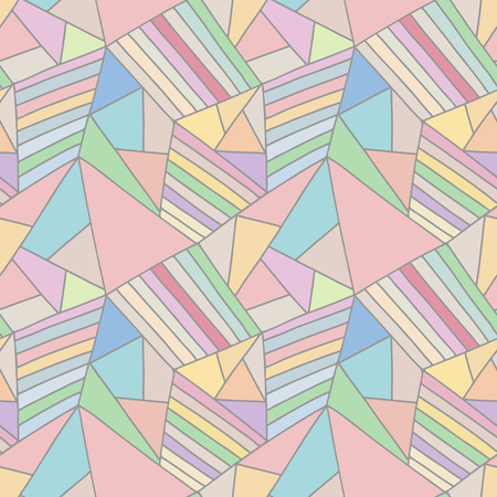 Seamless vector pattern, lined asymmetric geometric background with rhombus, triangles. Print for decor, wallpaper, packaging, wrapping, fabric. Triangular graphic design. Line drawing Illustration