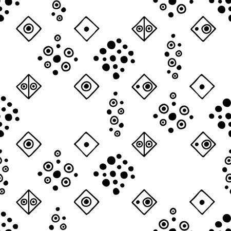Seamless vector geometrical pattern with hand drawn decorative elements. Graphic design, drawing illustration. Print for fabric, textil, wallpaper, wrapping, packaging. Line drawing. Doddle style, Vecteurs