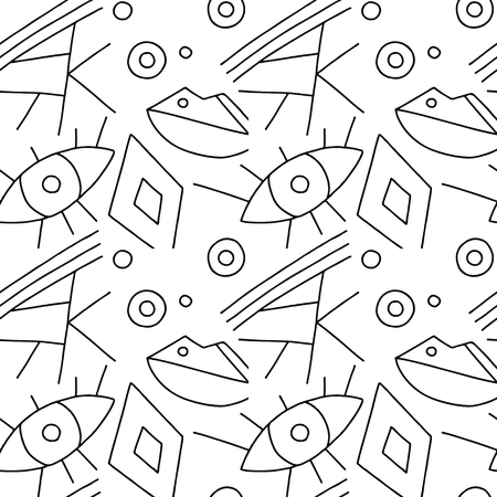 Seamless vector pattern, black and white lined asymmetric geometric background with rhombus, triangles. Print for decor, wallpaper, packaging, wrapping, fabric. Triangular abstrac design. Line drawing Illustration