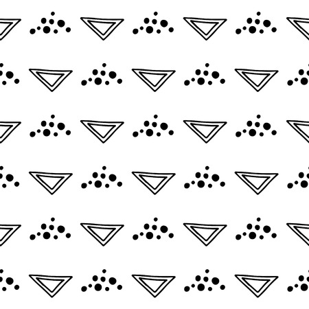 Seamless vector geometrical pattern with hand drawn decorative elements. Graphic design, drawing illustration. Print for fabric, textil, wallpaper, wrapping, packaging. Doddle style,
