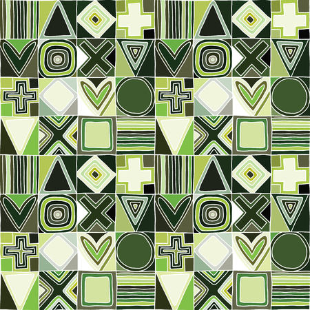 Geometric vector seamless pattern with different geometrical hand drawn forms. Square, triangle, rectangle, dots, circle cross Modern techno design Abstract green background Graphic green Illustration