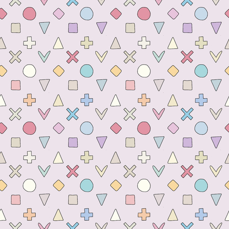 Geometric vector seamless pattern with different geometrical hand drawn forms. Square, triangle, rectangle, dots, circles, hearts. Doodle design. Abstract background. Graphic colorful Illustration
