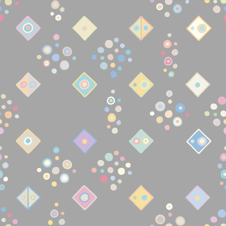 Seamless vector geometrical pattern with little hand drawn decorative elements. Graphic design, drawing illustration. Print for fabric, textil, wallpaper, wrapping, packaging. Doddle style, background Vecteurs
