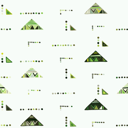 Seamless vector geometrical pattern with little hand drawn decorative elements. Graphic design, drawing illustration. Print for fabric, textil, wallpaper, wrapping, packaging. Doddle style, background Illusztráció