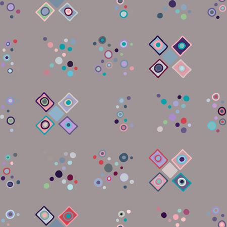 Motif géométrique vectorielle continue avec de petits éléments décoratifs dessinés à la main. Conception graphique, illustration de dessin. Impression pour tissu, textile, papier peint, emballage, emballage. Style Doddle, arrière-plan