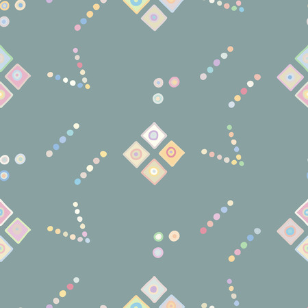 Seamless vector geometrical pattern with little hand drawn decorative elements. Graphic design, drawing illustration. Print for fabric, textil, wallpaper, wrapping, packaging. Doddle style, background Illustration