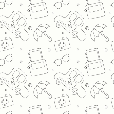 Seamless vector hand drawn pattern with decorative elements, car, bag, umbrella, sunglasses. Black and white background, graphic illustration, doodle style. Travel theme