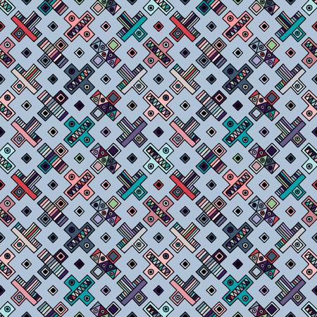 Motif géométrique vectorielle continue, éléments décoratifs dessinés à la main. Conception graphique, illustration de dessin. Impression pour tissu, textile, papier peint, emballage, emballage. Fond de style ancien rétro vintage