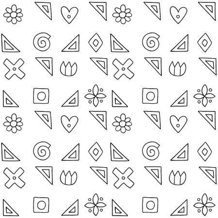 Seamless vector pattern, black and white geometric background with flower, leaf, hearts, cross, square. Print for decor, wallpaper, packaging, wrapping, fabric. Abstract graphic design. Line drawing