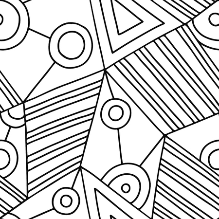 Seamless vector pattern, black and white lined asymmetric geometric background with rhombus, triangles. Print for decor, wallpaper, packaging, wrapping, fabric. Abstract graphic design. Line drawing