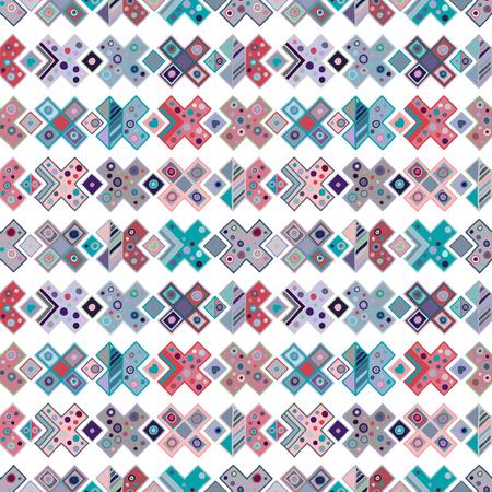 Motif géométrique vectorielle continue, éléments décoratifs dessinés à la main. Conception graphique, illustration de dessin. Impression pour tissu, textile, papier peint, emballage, emballage. Fond de style ancien rétro vintage Vecteurs
