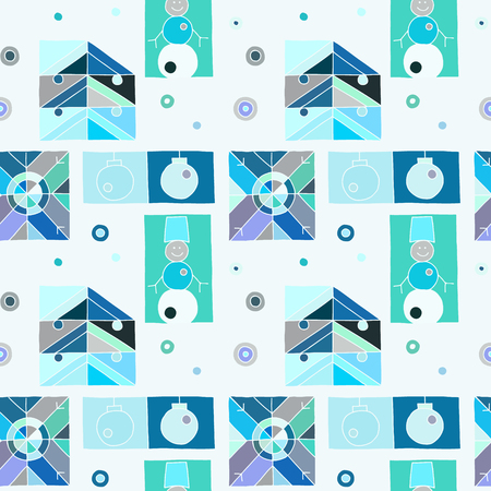 Seamless vector pattern. Blue geometrical hand drawn background with snowflake, snowman, christmas tree. Decorative print for background, wallpaper, packaging, wrapping, fabric.