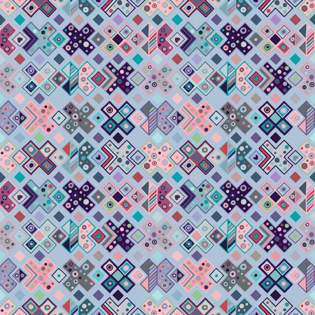 Seamless vector geometrical pattern, hand drawn decorative elements. Graphic design, drawing illustration. Print for fabric, textil, wallpaper, wrapping, packaging. Vintage retro old style background Vektoros illusztráció