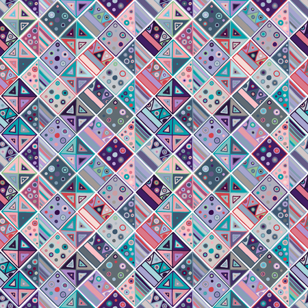 Seamless vector geometrical pattern, hand drawn decorative elements. Graphic design, drawing illustration. Print for fabric, textil, wallpaper, wrapping, packaging. Vintage retro old style background