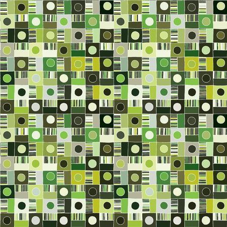 Nahtloses Vektormuster. Strukturierter geometrisch gezeichneter Hintergrund mit Figuren, Quadraten, Kreisen, Punktlinien, Rechtecken. Drucken Sie für Hintergrund, Tapete, Verpackungsverpackungsstoff Grafisches abstraktes Design