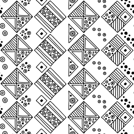 Seamless vector geometrical pattern with hand drawn decorative elements Graphic abstract design, drawing illustration. Print for fabric, textil, wallpaper, wrapping packaging Line drawing Doddle style Illustration