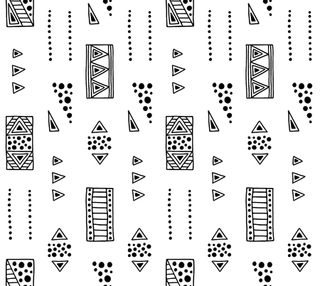Seamless vector geometrical pattern with hand drawn decorative elements Graphic abstract design, drawing illustration. Print for fabric, textil, wallpaper, wrapping packaging Line drawing Doddle style