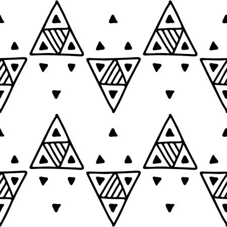 Motif géométrique vectorielle continue avec des éléments décoratifs dessinés à la main Conception graphique abstraite, illustration de dessin. Impression pour tissu, textile, papier peint, emballage d'emballage Dessin au trait Style Doddle