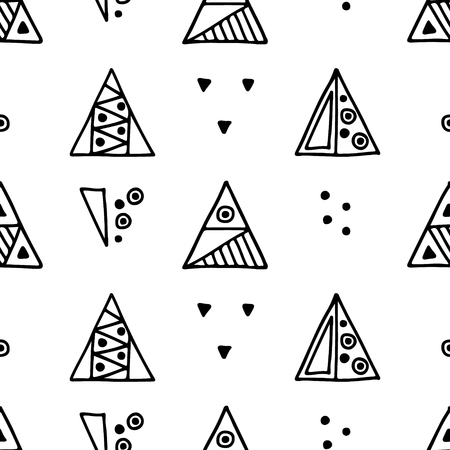 Seamless vector geometrical pattern with hand drawn decorative elements Graphic abstract design, drawing illustration. Print for fabric, textil, wallpaper, wrapping packaging Line drawing Doddle style Illusztráció
