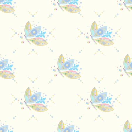 Seamless vector pattern, hand drawn decorative background with cute butterflies. Pastel mono color, repeating template for wallpaper, fabric, packaging, Graphic design, beautiful illustration. Çizim