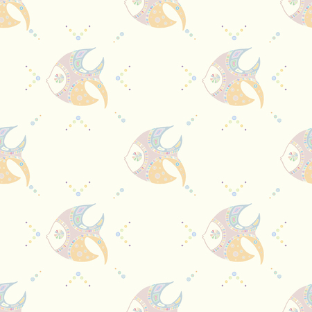 Seamless vector pattern, hand drawn decorative background with cute fish. Pastel mono color, repeating template for wallpaper, fabric, packaging, Graphic design, beautiful illustration. Çizim