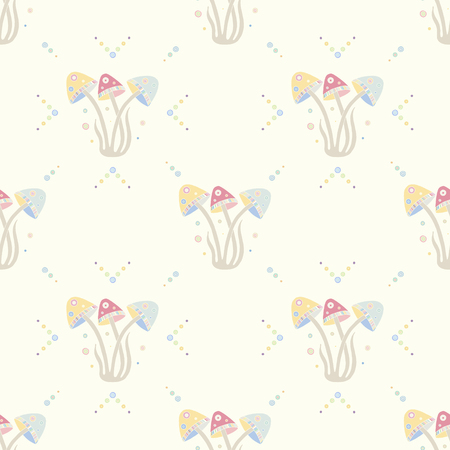 Seamless vector pattern, hand drawn decorative background with cute mushrooms. Pastel mono color, repeating template for wallpaper, fabric, packaging, Graphic design, beautiful illustration.