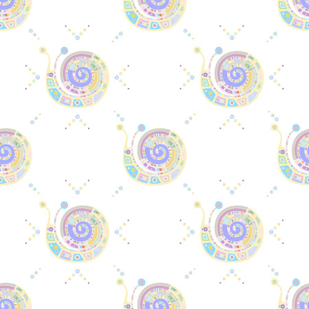 Seamless vector pattern, hand drawn decorative background with cute snails. Pastel mono color, repeating template for wallpaper, fabric, packaging, Graphic design, beautiful illustration.