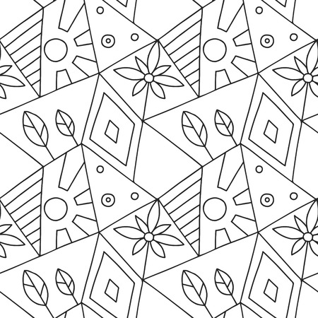 Seamless vector pattern, black and white asymmetric geometric background with house, tree, sun, rhombus. Print for decor, wallpaper, packaging, wrapping, fabric. Abstract graphic design. Line drawing Illustration