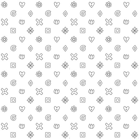 Geometric vector seamless pattern with different geometrical hand drawn forms. Square, triangle, rectangle, dots, circles, hearts, flowers. Graphic design. Abstract background black white Illustration