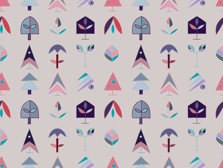 Seamless vector pattern. symmetrical background with hand drawn decorative trees. Cute pastel colorful print. Graphic design, illustration for wrapping, wallpaper, fabric, packaging, textile