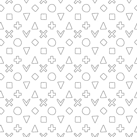 Geometric vector seamless pattern with different geometrical hand drawn childlike elements, forms. Square, triangle, rectangle, dots, circles, heart. Graphic design. Abstract childish background. Ilustração