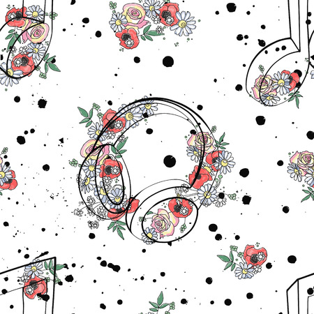 Vector seamless pattern graphic illustration of headphones music notes, flowers leaves branch drip blot splotch ink, splodge, spray Sketch drawing doodle style Artistic abstract watercolor silhouette Ilustrace