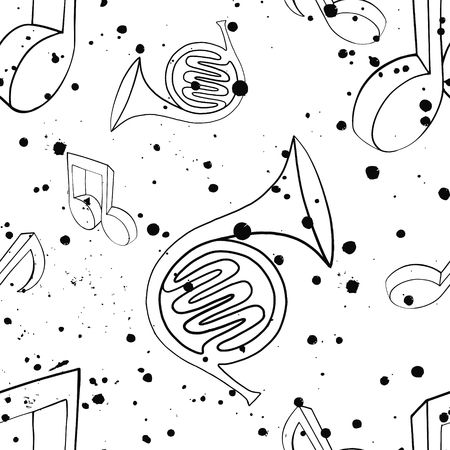 Vector seamless pattern with french horn,notes, inc splash, blots, smudge and brush strokes Black and white grunge template for web background prints wallpaper packaging wrapping design